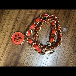 Tory Burch Leather Chain Double Wrap Bracelet